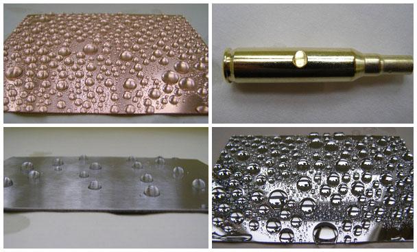 Hydrofobizované povrchy mědi, mosazi, oceli a galvanického povlaku  zinku v lázni přípravku Pragolub 1300