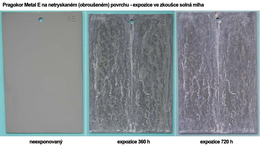 Pragokor Metal E na netryskaném (obroušeném) povrchu - expozice ve zkoušce solná mlha